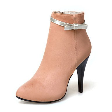 Women's Shoes Leatherette Winter Bootie Boots Stiletto Heel Pointed Toe Booties/Ankle Boots Bowknot For Casual Dress Almond Blushing Pink , almond , us9.5-10 / eu41 / uk7.5-8 / cn42