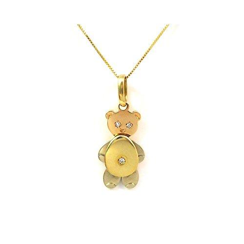 BLANC et jaune or ours pendentif collier 18 KT or rose serti de diamants - Oro giallo 18 kt