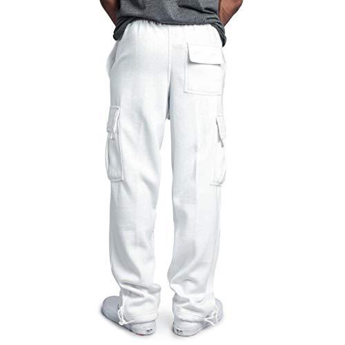 white Pantaloni Zolimx Lunghi Pocket Casual Bianco Lavoro Impiombatura Uomini Pantalone Uomini Tuta Sport OT7TFqA