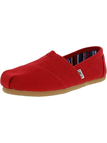 Toms Womens Classic Canvas Red Canvas Ankle-High Canvas Flat Shoe - 7M (Shoes Canvas High)