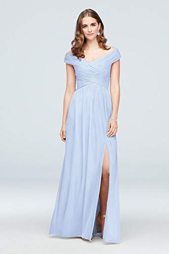 David's Bridal Crisscross Off-The-Shoulder Mesh Bridesmaid Dress Style F19951, Ice Blue, 2