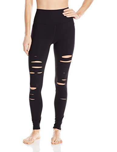 Alo Yoga Women's High Waisted Ripped Warrior Legging, Black, S