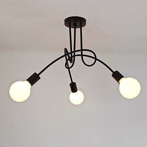 Shfmx Lustre en Fer forgé Moderne Nordique Minimaliste créatif Lustre américain rétro Restaurant Lampe Chambre Salon Balcon Art Trois Lustre