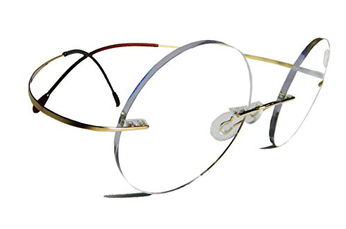 Circleperson Titanium Reading glasses reader small Round rimless Polycarbonate anti-glare lens (Gold, - Small Rimless Glasses