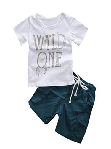 Clearance 1Set Outfits Kids Toddler Boys Clothes Letter Print T-shirt Top With Elastic Waist Shorts Trousers 1-7T (White, ()