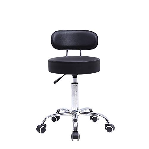 KKTONER PU Leather Rolling Stool with Mid Back Height Adjustable Office Computer Medical Home Drafting Swivel Task Chair with Wheels Black