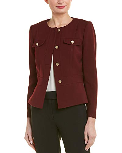 Tahari by ASL Women's Double Woven Military Style Jacket Plum 8 ()