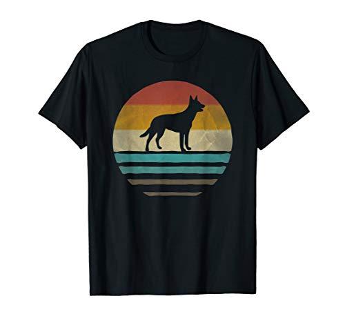 Retro Vintage Sunset Australian Kelpie Dog Breed Silhouette ()