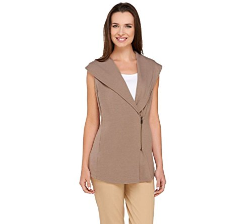 Lisa Rinna Collection Shawl Collar Asymmetric Zip Vest A264723  Mushroom  Xl