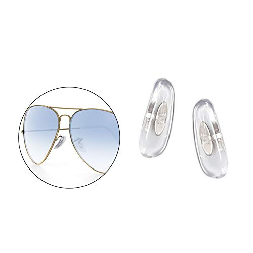 HEYDEFO 17mm Clip-on Replacement Nose Pads for Ray-Ban Aviator RB3025 3026 Sunglasses Repair Kits Clear,Bonus Sunglasses ()