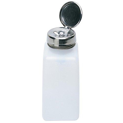 MENDA 35312 High-Density Polyethylene/Hdpe/Steel/Low-Density Polyethylene/Ldpe Dispensing Bottle, One-Touch Liquid Dispenser Pump, Natural Square HDPE, 8 oz, 2 fl. oz. Capacity -