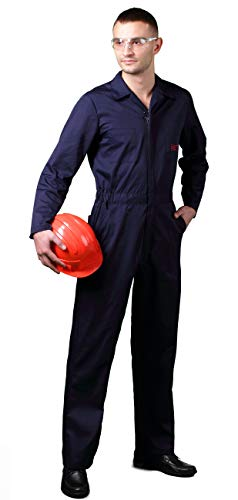 - BREVY Men's Coverall Zip Up Front Long Sleeve Cotton/Poly Twill (Navy Blue, L-reg)