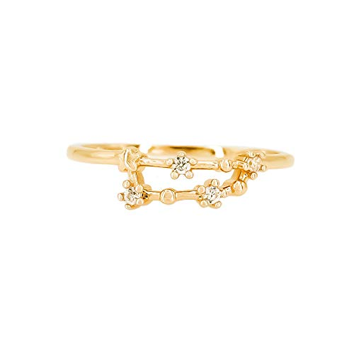 Choice by Choi Zodiac Constellation Ring with Cubic Zirconia Stones Made of Zinc, Steel, Brass (Capricorn & Gold) by Choice by Choi