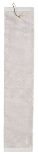 Towels Plus by Anvil Deluxe Tri-Fold Hemmed Hand Towel with Center Grommet and Hook - Silver