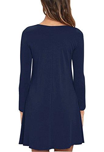 Long Navy Sleeve HaomeiliRobe Blue Femme nwmN80