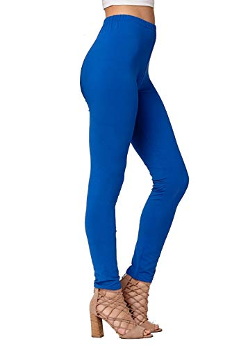 Conceited Super Soft High Waisted Women's Leggings - Opaque Full Ankle Length - Royal Blue - One Size (0-10) -