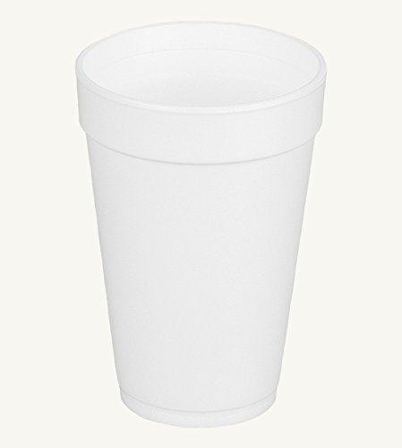 - Dart 16J16, 16 Oz. White Foam Cup and Translucent Lid with Straw Slot, Customizable Disposable Hot and Cold Drink Beverage Soda Cups (100)