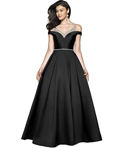 (YGSY Women's Off The Shoulder Spaghetti Straps A-line Pleated Satin Evening Prom Dress Long Formal Party Gown with Beaded Belt Size 4 Black)