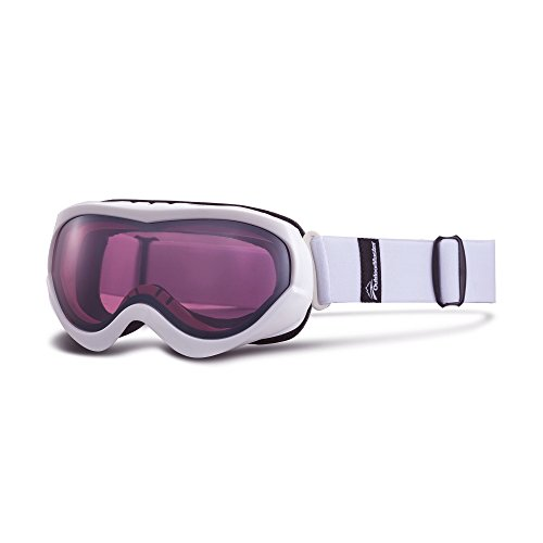 Junior Girls Ski (OutdoorMaster Kids Ski Goggles - Helmet Compatible Snow Goggles for Boys & Girls with 100% UV Protection (White Frame + VLT 45% Wine Red Len with REVO)