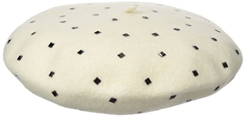 Vince Camuto Women's Studded Wool Beret, Ivory, One Size (Hat Studded Wool)