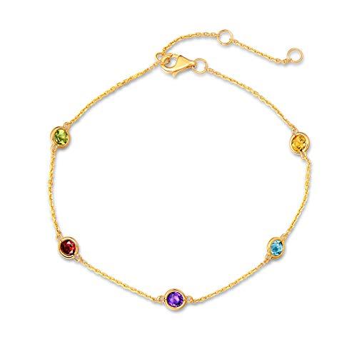 Carleen 14K Solid Yellow Gold 1 cttw Multicolored Peridot/Citrine/Blue Topaz/Garnet/Amethyst Dainty Delicate Petite Station Bracelet Fine Jewelry for Women Girls, 7