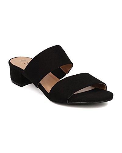 Women Faux Suede Low Heel Sandal - Double Band Slide - Block Heel Sandal - GH65 By Nature Breeze - Black (Size: 7.0)