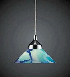 Elk 1477/1CAR 1-Light Pendant In Polished Chrome with Caribbean Glass(Colors and patterns may vary ) from ELK