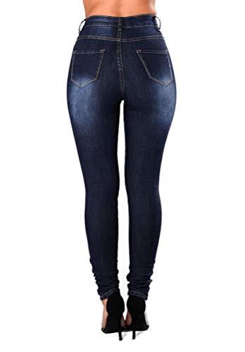Pantalon Dcontracte Slim Jean en Mode Yujeet Coupe Dchir Jeans Serr Bleu Fonc Confortable Femmes xqUAwEzBC