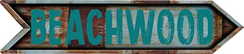 "Any and All Graphics Beachwood 4""x18"" Arrow Shaped Rustic Antique Vintage Look Composite Aluminum Novelty décor Sign."