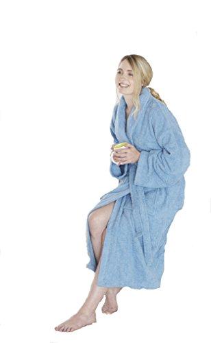 Gran nudo, 100% algodón egipcio 450 GSM albornoz cuello medio/grande,Blanco, M/L Azul