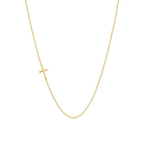 Fremttly Hand Made Necklace Simple 14K Gold Fill Delicate Dainty Bar and Cross Choker Necklace for Womens-Ne-Cross