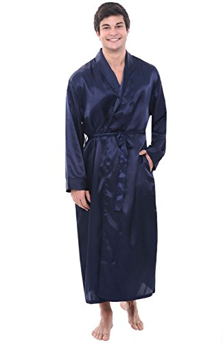 Del Rossa Men's Satin Robe, Long Lightweight Loungewear, 3XL Midnight Blue (A0720MBL3X) (Male Robes)