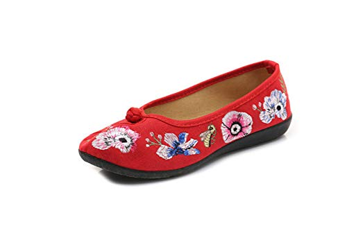 Donna Estive Ricamate Red Donna Stoffa Scarpe Ricamate Da Ballo scarpe Di Ed Primaverili OOqAxr