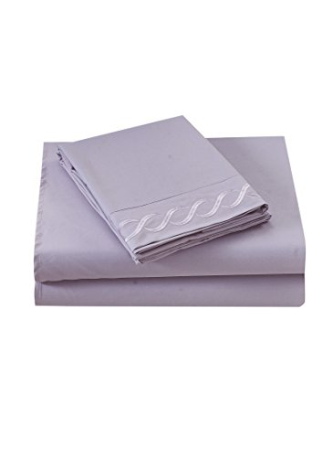 Swan Linens Premium Brushed Microfiber Sheet and Pillowcase Set (Lavender, Queen)