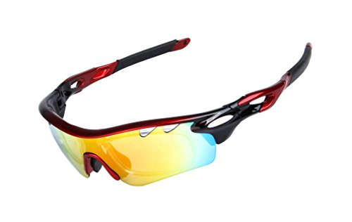 GAMT Polarized Sports Sunglasses With 5 Interchangeable Lenes For Men Women Cycling Red and - Cricket Sunglasses