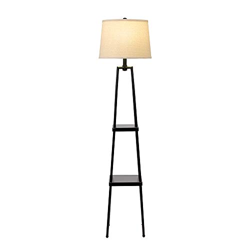 Catalina Lighting 21405-000 Transitional Distressed Iron Metal Etagere Floor Lamp with Shelves, Ivory Beige Linen Shade and 3-Way Switch, 58'', New Black by Catalina Lighting (Image #1)