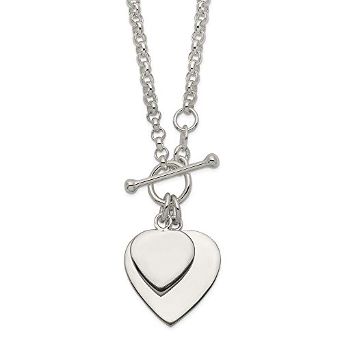 925 Sterling Silver Double Heart Toggle Chain Necklace Pendant Charm S/love Fine Jewelry Gifts For Women For ()