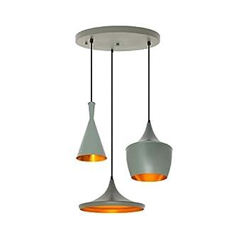 Conjunto 3 Lámparas en Suspension Beat Style Aluminio Gris ...