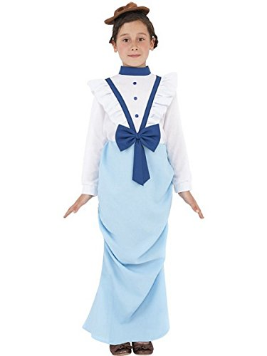 (Smiffys Children's Posh Victorian Girl Costume, Dress & Hat, Ages 10-12, Size: Large, Color: White and Blue, Ages 10-12, Size: Large,)