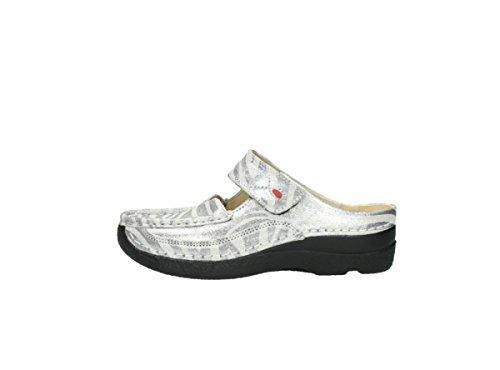 Muli Sassosi Da Donna 0622712070-roll-slipper Nero 464908 90120 Pelle Metallizzata Zebrata