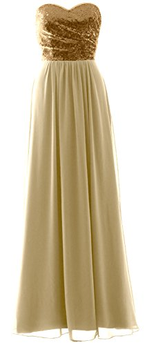 Formal Gold Elegant MACloth Chiffon Champagne Party Long Dress Sequin Bridesmaid Strapless Gown 8dnqwpadv