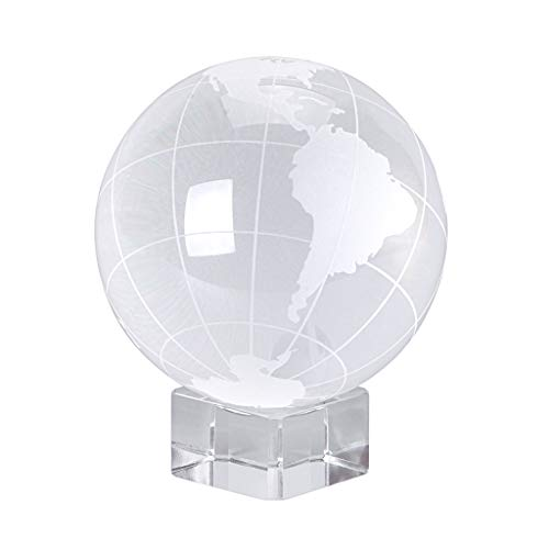 OwnMy World Globe Crystal Ball Glass Sphere Display Globe Paperweight Healing Meditation Ball with Clear Stand for Creative Gift (Globe / 80MM)