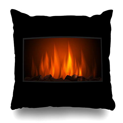 Fireplace Fender Wood - Ahawoso Throw Pillow Cover Glow Wood Fireplace Fire Nature Christmas Realistic Alight Blaze Bonfire Design Brick Decorative Pillowcase Square Size 20