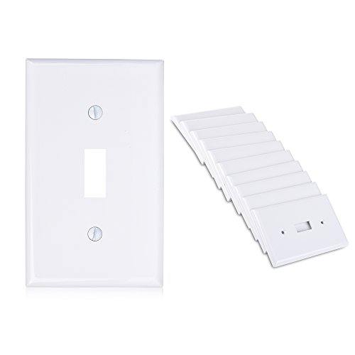 Cable Matters (10-Pack) Single-Gang Toggle Switch Wall Plate (Wall Switch Cover) in White