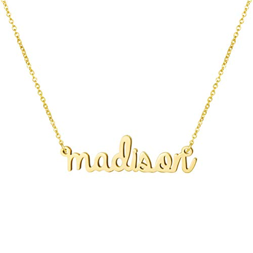 (Yiyang Personalized 18K Gold Name Necklace Plated Stainless Steel Jewelry Birthday Gift for Girls Madison )