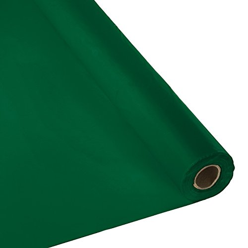 Plastic Party Banquet Table Cover Roll - 300 ft. x 40 in. - Disposable Tablecloth (Hunter (Hunter Green Plastic Table)