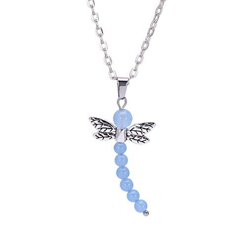 Handmade Gemstone Dragonfly Pendant Necklace