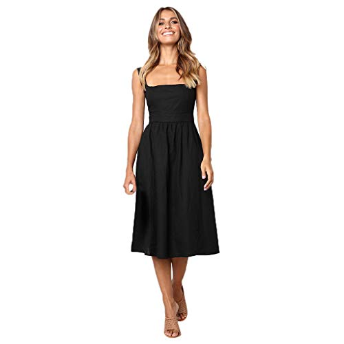 Women's Vintage Dresses Pure Color with Pocket Midi Dress Bandage Sleeveless Lace A-Line Skirt Polyester Sexy Tops