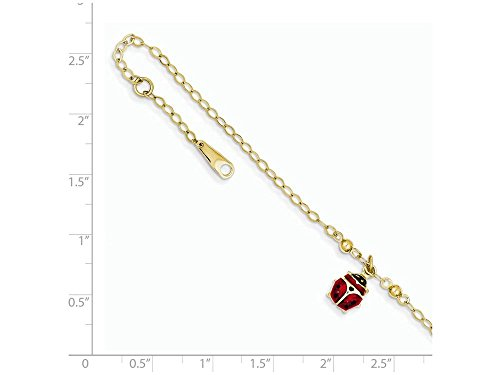 Finejewelers 10 Inch 14k Yellow Gold Adjustable Enameled Ladybug Anklet