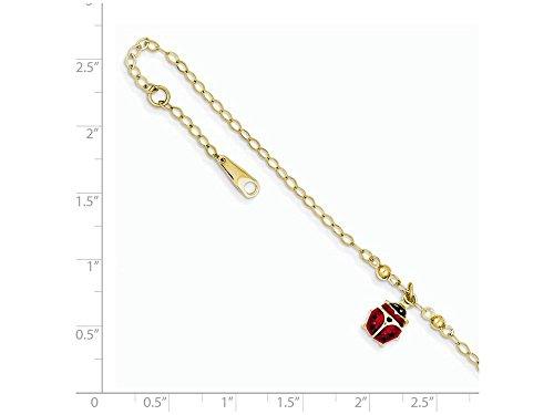 10 Inch 14k Yellow Gold Adjustable Enameled Ladybug Anklet